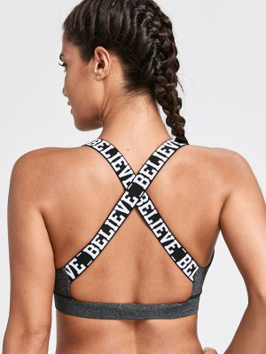 Letter Padded Criss Cross Yoga Bra