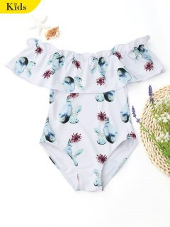Ruffles Off Shoulder Printed Kids Swimwear - White 8t