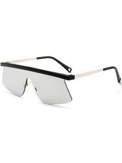 Semi Rimless Shield Mirror Sunglasses - Silver