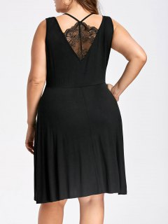 Plus Size Lace Trim Sleeveless Skater Dress - Black 5xl