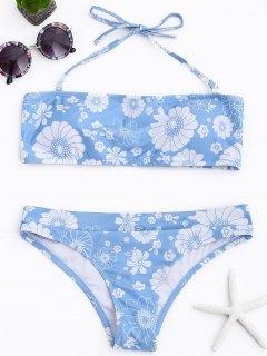 Padded Floral Halter Bikini Set - Light Blue M