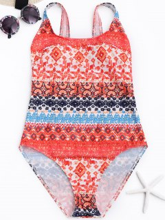 Printed One Piece Bathing Suit - L