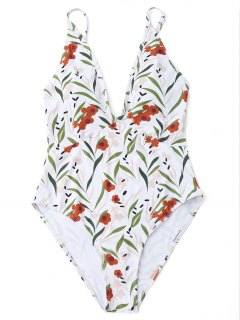 High Cut Leaf Print One Piece Swimwear - White S