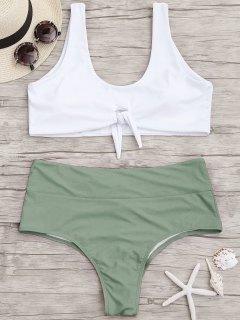 Plus Size High Cut Two Tone Ruched Bikini - Green Xl
