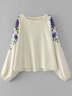 Batwing Sleeve Flower Graphic Sweatshirt - Off-white S