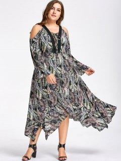 Plus Size Cold Shoulder Handkerchief Dress - 5xl
