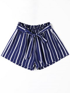 Striped Wide Leg Shorts With Tie Belt - Blue Stripe S