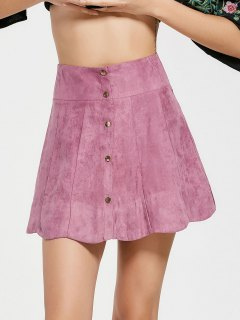 Snap Button High Waist A Line Skirt - Pinkish Purple S