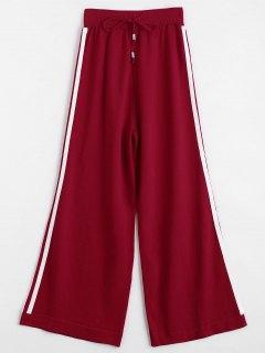 Jersey Knit Striped Wide Leg Pants - Red