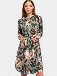 Button Up Floral Print Shirt Dress - Floral S