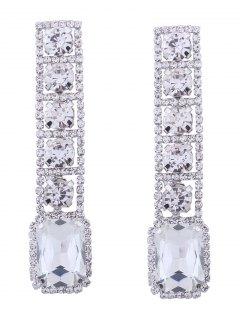 Rhinestone Faux Gem Sparkly Geometric Earrings - White