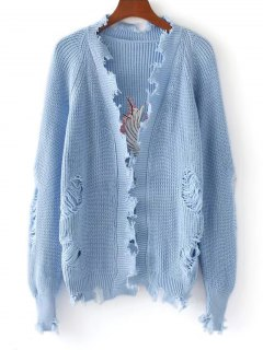 Crane Embroidered Open Front Ripped Cardigan - Light Blue