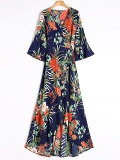Slit Tropical Print Maxi Wrap Dress - Blue L