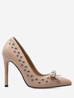 Grommet Bowknot Stiletto Heel Pumps - Apricot 37