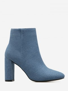 Block Heel Denim Boots - Blue 38
