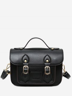 Faux Leather Double Buckle Straps Crossbody Bag - Black