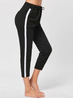 Two Tone Drawstring Cropped Pants - Black 2xl