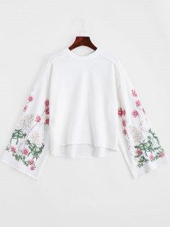 Crew Neck Flower Embroidery Sweatshirt - White S