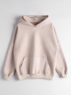 Drop Shoulder Front Pocket Hoodie - Apricot S