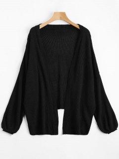 Open Front Plain Drop Shoulder Cardigan - Black L
