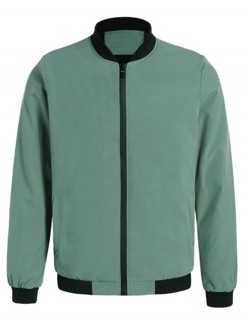 latest Embroidered Contrast Trim Bomber Jacket - PEA GREEN 3XL Mobile