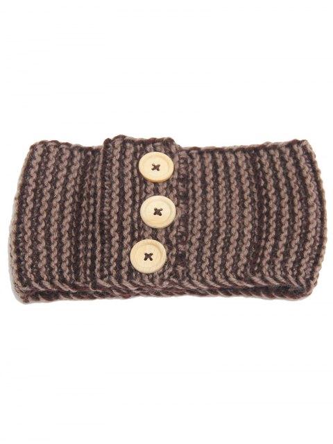women Warm Crochet Button Elastic Hair Band - KHAKI  Mobile