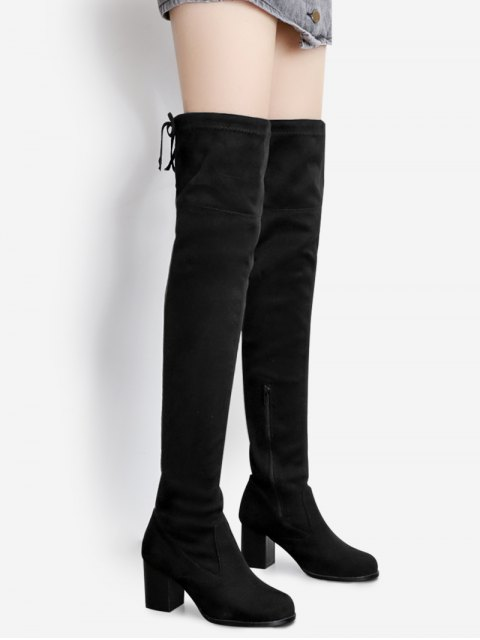 women's Suede Pointed Toe Over The Knee Boots - BLACK 40 Mobile
