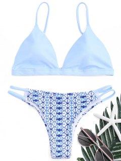 Printed Scrunch Butt Bikini Set - Azure M