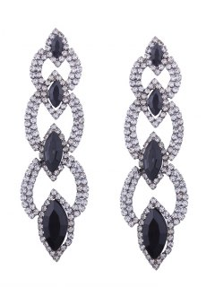 Rhinestone Faux Gem Sparkly Party Earrings - Black