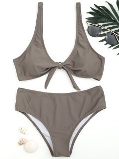 Scoop Knotted Bathing Suit - Coffee L