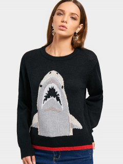 Contrasting Shark Crew Neck Sweater - Black