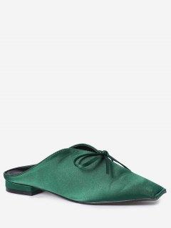 Square Toe Bowknot Satin Slippers - Green 38