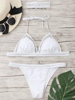 Mesh String Bikini Set With Choker - White L