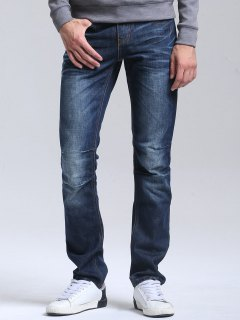 Regular Fit Casual Straight Jeans - Deep Blue 32