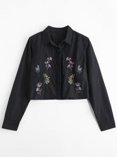 Chemise Brodée Floral Boutonnée - Noir S
