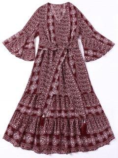 Tie Belt Indian Print Bohemian Dress - Deep Red S
