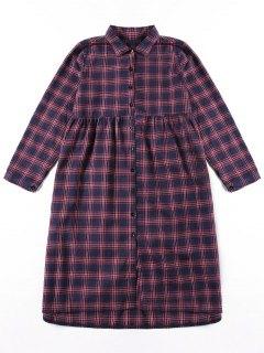 Button Up Plaid Shirt Dress - 2xl