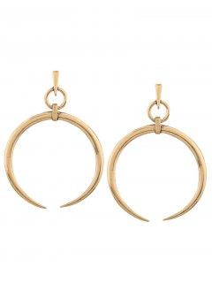 Alloy Tribal Moon Earrings - Golden