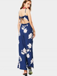 High Waist Flower Cami Wide Leg Jumpsuit - Floral M