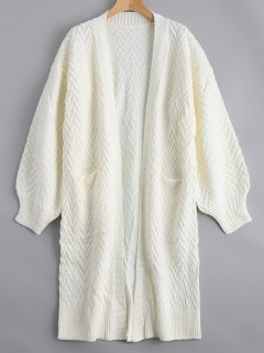 Open Front Cable Knit Cardigan With Pockets - White