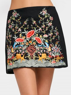 High Waisted Floral Embroidered A Line Dress - Black M