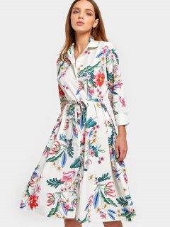 Long Sleeve Floral Belted Shirt Dress - Floral L