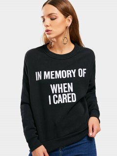 Drop Shoulder Letter Graphic Sweatshirt - Black M