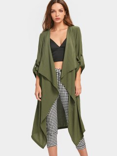 Buttoned Tabs Open Front Trench Coat - Army Green S