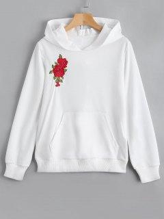 Hoodie Brodé à Fleur De Poche Avant - Blanc L