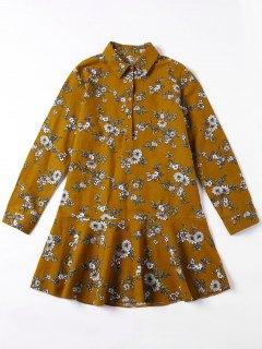 Flounced Tiny Floral Mini Shirt Dress - Yellow Ocher S