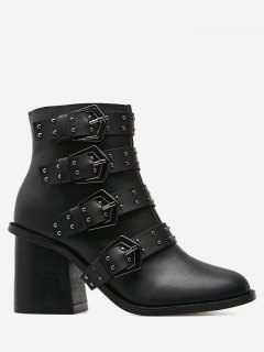Block Heel Buckle Straps Ankle Boots - Black 39