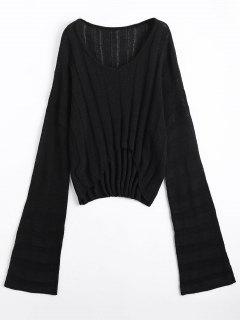 Drop Shoulder High Low Sweater - Black