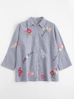 Chemise à Rayures à Boutons Floraux à Rayures - Rayure L