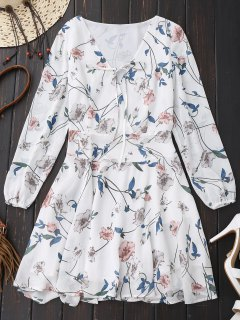 Floral Drop Waist Long Sleeve Surplice Dress - White Xl